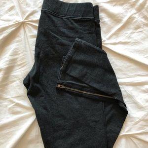 AE Charcoal Zipper Leggings